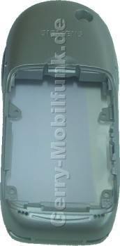 Gehäuseunterteil Siemens S55 Original Sterling Silver ( incl. interne Antenne, beide Seitenschalter und Tastenmatten der Seitenschalter, Infrarotfenster / Irda-Fenster)