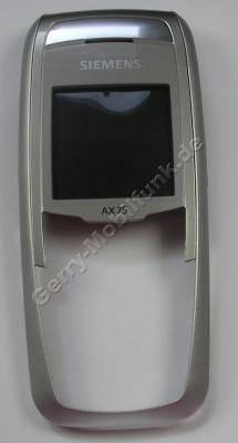 Oberschale Siemens AX75 original cream stone, silber incl. Displayscheibe